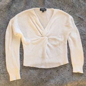 Off white twisted front crop sweater